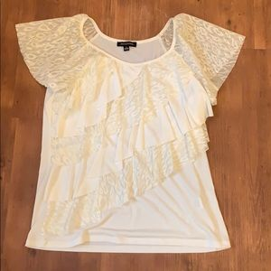 White/cream leapoard print top